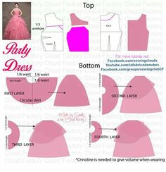 New sewing clothes women easy girls ideas Gown Pattern, Doll Dress Patterns, Barbie Patterns, Clothing Patterns, Sewing Clothes Women, Barbie Clothes, Diy Clothes, Fashion Sewing, Pattern Fashion