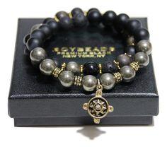 "BOYBEADS ""Guide Me"" Goldtone Compass 10mm Pyrite, Wood, Lava, Onyx Custom Bracelet Gift Set for Men"