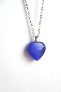 Blue glass Heart necklace from Crimeajewel