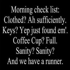 Morning check list:  Clothed? Ah sufficiently.  Keys?  Yep just found em'.  Coffee Cup?  Full.  Sanity?  Sanity?  And we have a runner.