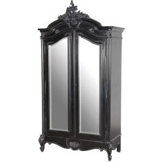 Moulin Noir 2 Door French Mirrored Armoire (£1,397) ❤ liked on Polyvore featuring home, furniture, storage & shelves, armoires, black outdoor furniture, black painted furniture, outdoor storages, black wardrobe and painted armoire