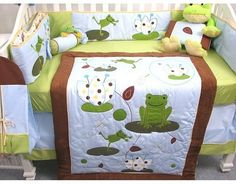 Soho Tall Tales Dancing Frog Baby Crib Nursery Bedding Set 13 Pcs Included Diaper Bag With Changing Pad