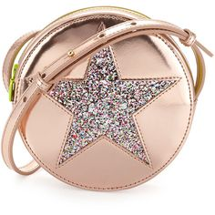 Stella McCartney Girls' Round Metallic-Star Faux-Leather Crossbody Bag (880 BRL) ❤ liked on Polyvore featuring bags, handbags, shoulder bags, purses, pink, shoulder handbags, pink shoulder bag, pink shoulder handbags, faux leather crossbody and vegan handbags