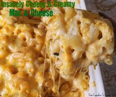 Insanely Cheesy And Creamy Mac & Cheese- This is mac and cheese on steroids! Decadently cheesy, totally creamy and rich, this is probably the best mac and cheese I've ever had! http://www.fromcupcakestocaviar.com/2013/07/10/insanely-cheesy-and-creamy-mac-cheese/