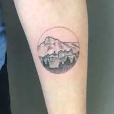 My Salzburg tattoo! #salzburg #austria #österreich #hohensalzburg #untersberg #mountain #alps #landscape #dotwork #tattoo #smalltattoo #bobfizz #mintclubtattoo #landscapetattoo #arm #circle