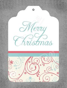Christmas Gift Tags  Merry Christmas Swirls by PaperDollPrinting