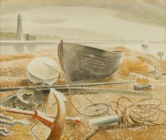 """""""Anchor and Boats, Eric Ravilious, The work depicts Rye Harbour, in East The original artwork is in a private collection. Rye Harbour, Dulwich Picture Gallery, George Grosz, Retail Design, Les Oeuvres, Painting & Drawing, Original Artwork, Book Art, Vintage World Maps"""