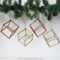 DIY geometric, metallic holiday ornaments!