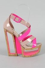 M11036B-1 Neon Two Tone Strappy Cut Out Platform Wedge-OMG!!!!!! THAT'S ALLL I GOT LOLOLOL