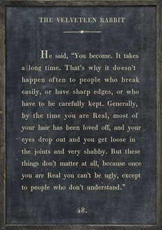 Velveteen Rabbit, my mom always read me this book as a little girl.