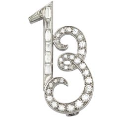 Art Deco Platinum And Diamond Whimisical Lucky 13 Brooch, ca. 1920s