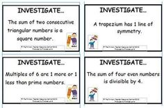 Some useful number investigations! Triangular Numbers, Maths Investigations, Prime Numbers, Math Boards, Thing 1