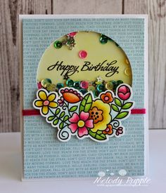Melody Rupple: A Paper Melody – Happy Birthday Shaker Card - 4/6/15.  (Paper Smooches Stamps/ dies: Blossoming Buds, Salutations).   (Pin#1: Flowers: 3D/ Dies... Pin+: Shaker).