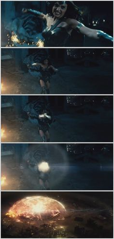 Wonder Woman (Gal Gadot) deflects an energy beam with her bracelets. Can't wait to see this movie. Screencaps from Batman v. Superman Comic Con trailer (2015) ~ Click for large view.