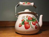 Enamelware Vintage Strawberry Tea Pot Kettle Cottage Cute Mid-Century