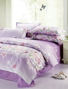 New Arrival Cotton Flat Sheets Queen/King Size European Printed Single Bed Sheet Pink Flowers With Elastic Home Textile Bedding Purple Bedding Sets, Cotton Bedding Sets, Cotton Sheet Sets, Comforter Sets, Colorful Bedding, Floral Bedding, Cotton Duvet, Queen Bed Linen, Queen Bedding
