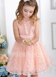 [US$ 28.49] Princess Knee-length Flower Girl Dress - Cotton Sleeveless Scoop Neck With Lace/Flower(s) (010088062)