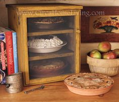 Pie safe.  The whole idea just tickles me, because if I had that much pie at home, there is no way it would be safe, cute cabinet or no.