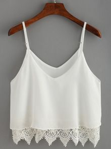 SheIn offers White Lace Crochet Scalloped Hem Cami Top & more to fit your fashionable needs. Teen Fashion Outfits, Girl Fashion, Casual Outfits, Cute Outfits, Crochet Cami Tops, Crochet Tank, White Lace Tank Top, Jugend Mode Outfits, Cropped Tops