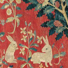 La Dame à la Licorne - Le Goût (détail du lapin) Musée de Cluny, Paris ~ETS #tapestry #rabbits