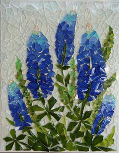 Bluebonnets - Bottle glass and stained glass mosaicsBluebonnets - by Cork and Glass Mosaics, possibly a ticker tape quilt.Bluebonnets - by Cork and Glass Mosaics. They look more like Lupines to meBluebonnets - by Cork and Glass Mosaics( I would do th Mosaic Crafts, Mosaic Projects, Stained Glass Projects, Stained Glass Patterns, Mosaic Patterns, Sea Glass Art, Stained Glass Art, Mosaic Glass Art, Fused Glass