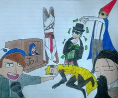 Monopoly Squad meme with Dipper, Evie, Bill, Jacob, Wirt, Altair and Arno. ;3