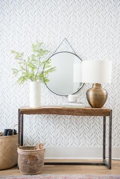 magnolia homes joanna gaines Wallpaper can feel like a big commitment, not only because of its perceived permanence, but because adding a print or pattern to your walls is t Accent Wallpaper, Home Wallpaper, Wallpaper Ideas, Wallpaper Patterns, Wallpaper Decor, Bedroom Wallpaper Ikea, Living Room Wallpaper Accent Wall, Dinning Room Wallpaper, Salon Wallpaper
