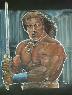 "Arnold Schwarzenegger body building. as ""Conan the Destroyer""."