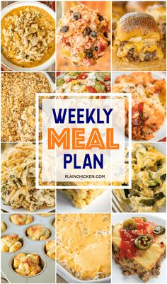 Weekly Meal Plan - a quick and easy main dish and side dish for every night of the week. Most are ready to eat in 30 minutes! You can't beat that! Freezable Meals, Frugal Meals, Easy Meals, Cheap Meal Plans, Vegan Meal Plans, Fast Dinners, Weekly Dinners, Weekly Menu, Plain Chicken Recipe