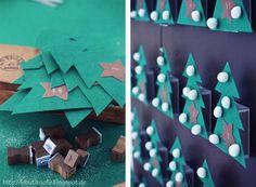 Tannenkalender aus Streichholzschachteln