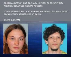 LONDON'S TORMENTORS BUSTED ZACHARY HINTON & SARAH ANDERSON, CRESCENT CITY CA arrested, charged for animal abuse & torture to animals. News story here: www.kptv.com/story/19300629/london-the-badly-injured-pit-bull-recovering-owners-arrested?autoStart=true=default=7632436  An eyewitness saw the couple slam the puppy on the floor many times when he chewed a couch.They waited mos to take the dog to a shelter, who contacted PandaPawsRescue,an org. experienced in handling special needs animals.