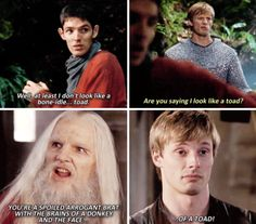 Merlin - And maybe one day you'll magically transform into a handsome prince. Just magic's outlawed, that'll probably never happen.