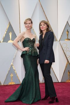Maren Ade (right), Oscar® nominee, and guest arrives on the red carpet. #redcarpet #Oscars #style #fashion #4chionStyle