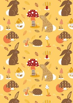 Georgina Ridler - Illustrator - Autumn Forest Pattern Happy Autumn Everyone! #Illustration #Illustrator #Art #Digital #Autumn #Hedgehogs #Bunny #Rabbit #Acorn #Leaves #Mushrooms #Forest #Nature #Characters #Pattern #Design #Surface #Decorative #Cute #Pretty #Fall #Seasonal