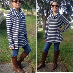 2 left❗️Navy striped tunics Large sold out❗️Please do not purchase this listing. Comment with size and I will create a new listing for you. Small (2/4) Medium (6/8) Large (10/12) Cowl neck long sleeves tunic. Price is FIRM unless bundled. Tops Tunics