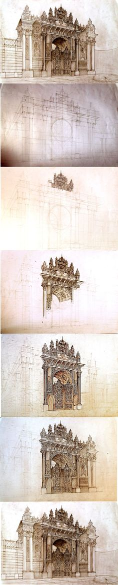 #istanbul free hand drawing by Maja Wrońska, via Behance: