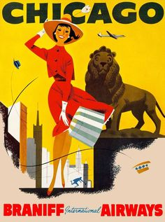 Chicago Illinois Lion United States Vintage Travel Advertisement Art Poster