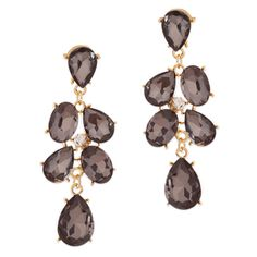 """DEIDRE EARRINGS $39     Simply elegant, the Diedre earrings feature a smoky cascade of tear drop cut, gold tone prong-set CZ's. These feminine stand outs add a bit of edge to any cocktail ensemble. Diedre's center clear CZ adds surprise sparkle.   - Gold tone metal, CZ's - 2 1/2"""" long - Post back for pierced ears Item # KRY20001122"""
