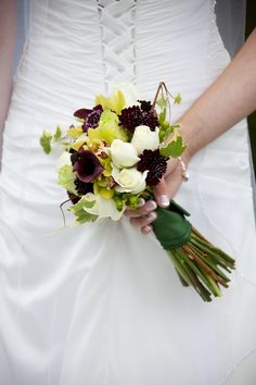 burgundy, white and green bouquet