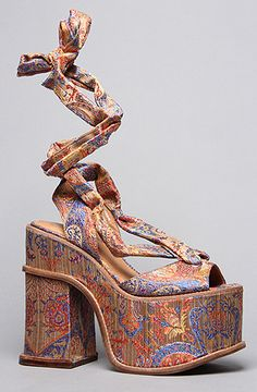 The Landers Shoe in Blue and Gold Fabric by Jeffrey Campbell. Reminds me of 70s upholstery. In the best way possible.