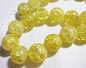 Yellow Round Crackle Beads 16 Beads in a Strand Size 14mm