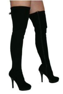e215f614055 EROSELLA Lucy Black Lami Thigh Stiletto Sexy Heel