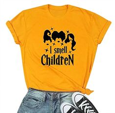 I Smell Children Tee Shirts Women Halloween Sanderson Sisters Tee Tops Cute Graphic Top Tee Shirt Yellow Graphic T Shirts, Toddler Girl Outfits, Kids Outfits, Toddler Girls, Kids Shirts, Tee Shirts, Quote Shirts, Tops For Leggings, Outfits With Hats