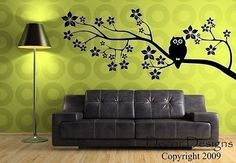 Owl On a Blossom Branch Vinyl Wall Decal Sticker