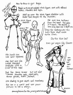 How to Draw Worksheets for The Young Artist: How To Draw A Girl Ninja, Free Worksheet.