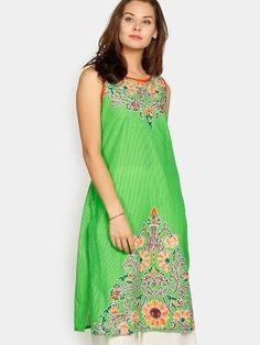 Buy Aurelia Women Green Printed Regular Fit Kurta online at abof.com