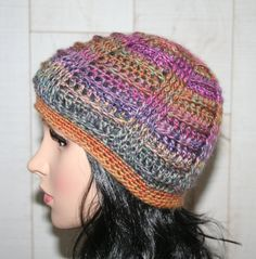 Multicolored Bailey Textured Beanie Hat Crochet One size fits most