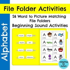 26 alphabet file folder activities to practice letter identification and beginning sounds. This resource is a word to picture matching task. Use these for independent work tasks, group lessons, and 1:1 instruction. While these were created for a special education class, the multiple levels and repetition make them ideal for pre-k, kindergarten and ELLs.