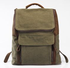 Army green Leathercanvas backpack /Leather bag/Canvas by Heavenbag, $69.00