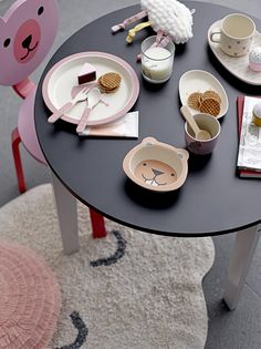 Little Black Table Bloomingville • WOO .Design Childrens Play Table, Bella Rose, Black Table, Afternoon Tea, Tea Set, Interior Styling, Cleaning Wipes, Wall Art, Child Room